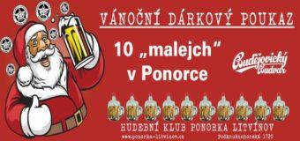 Vánoční dárkový poukaz na čepované pivo v Ponorce